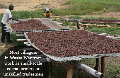 Most villagers in Wassa Wantram work as small-scale cocoa farmers or unskilled tradesmen.