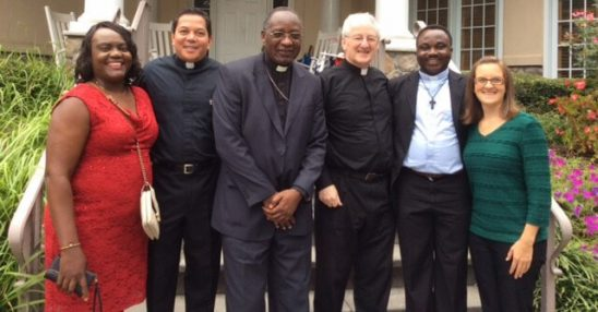 Atlanta, USA - Bishop Celestin visits! L-R: Ide Maka, CWM partner; Deacon Rick Medina, CWM Executive Director; Bishop Pierre Celestin of Diocese of Luebo, DRC; Monsignor Marren, pastor of All Saints Catholic Church in Atlanta; Fr. Donatien Beya, Diocese of Luebo, DRC; Stephanie Lange, CWM Operations Manager