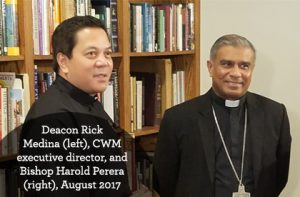 Bishop Harold Perera with Deacon Rick Medina, CWM executive director, during his 2017 visit to Atlanta