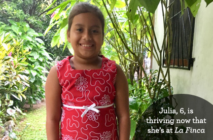 Julia, 6, is thriving now that she's at La Finca in Honduras