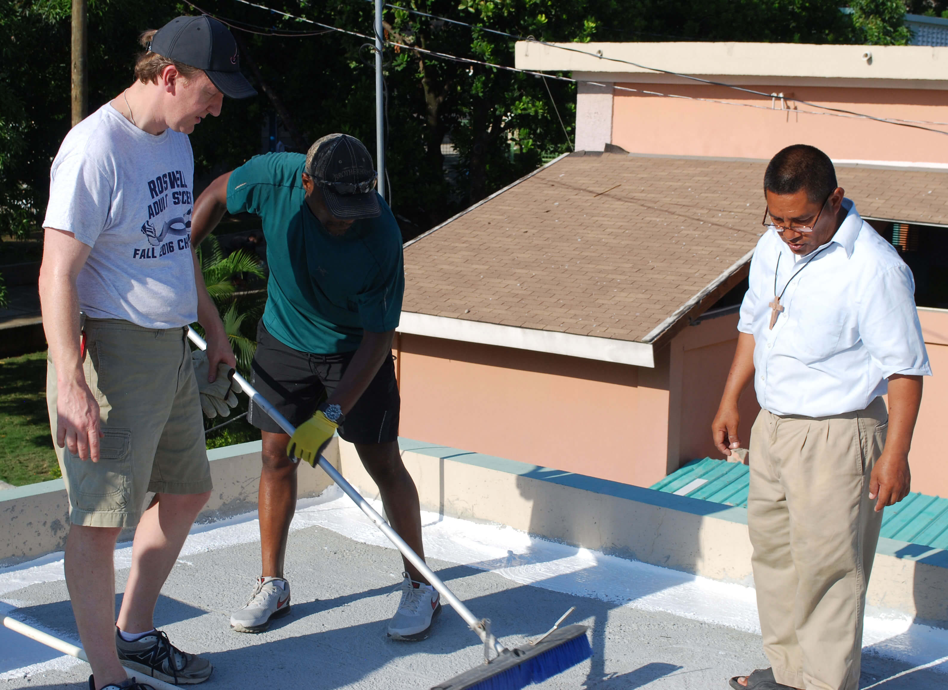 Working on the roof of a building at the Missionaries of the Poor community in Haiti