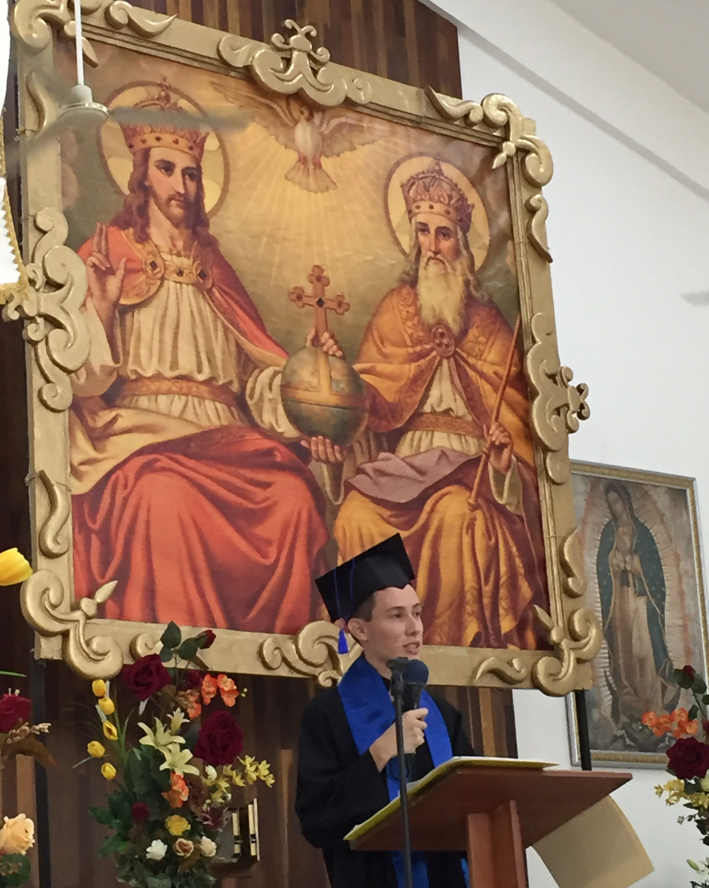 Graduate speaks at his baccalaureate Mass.