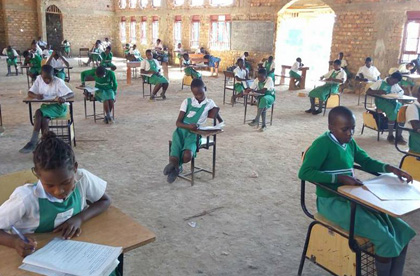 St. Philomena students take a test