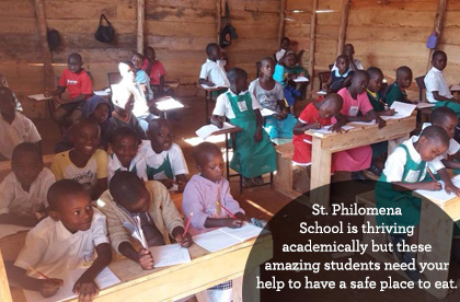 St. Philomena School is thriving academically but these amazing students need your help to have a safe place to eat.