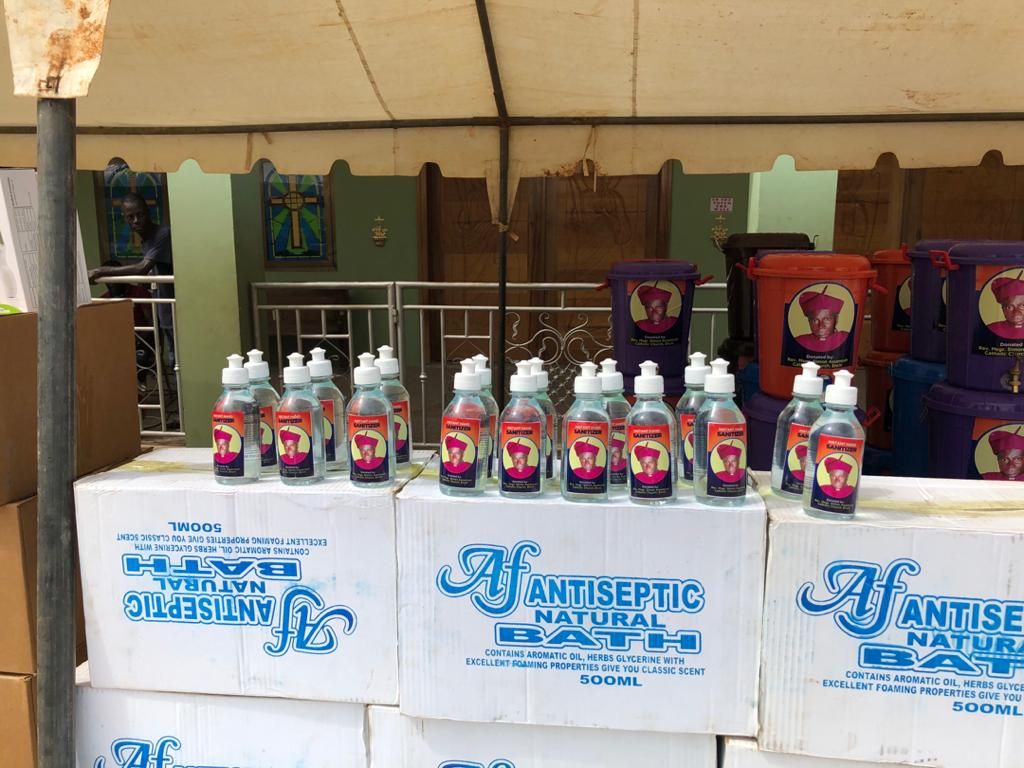 3. Bottles of hand sanitizer ready to be distributed to local hospitals in Ghana