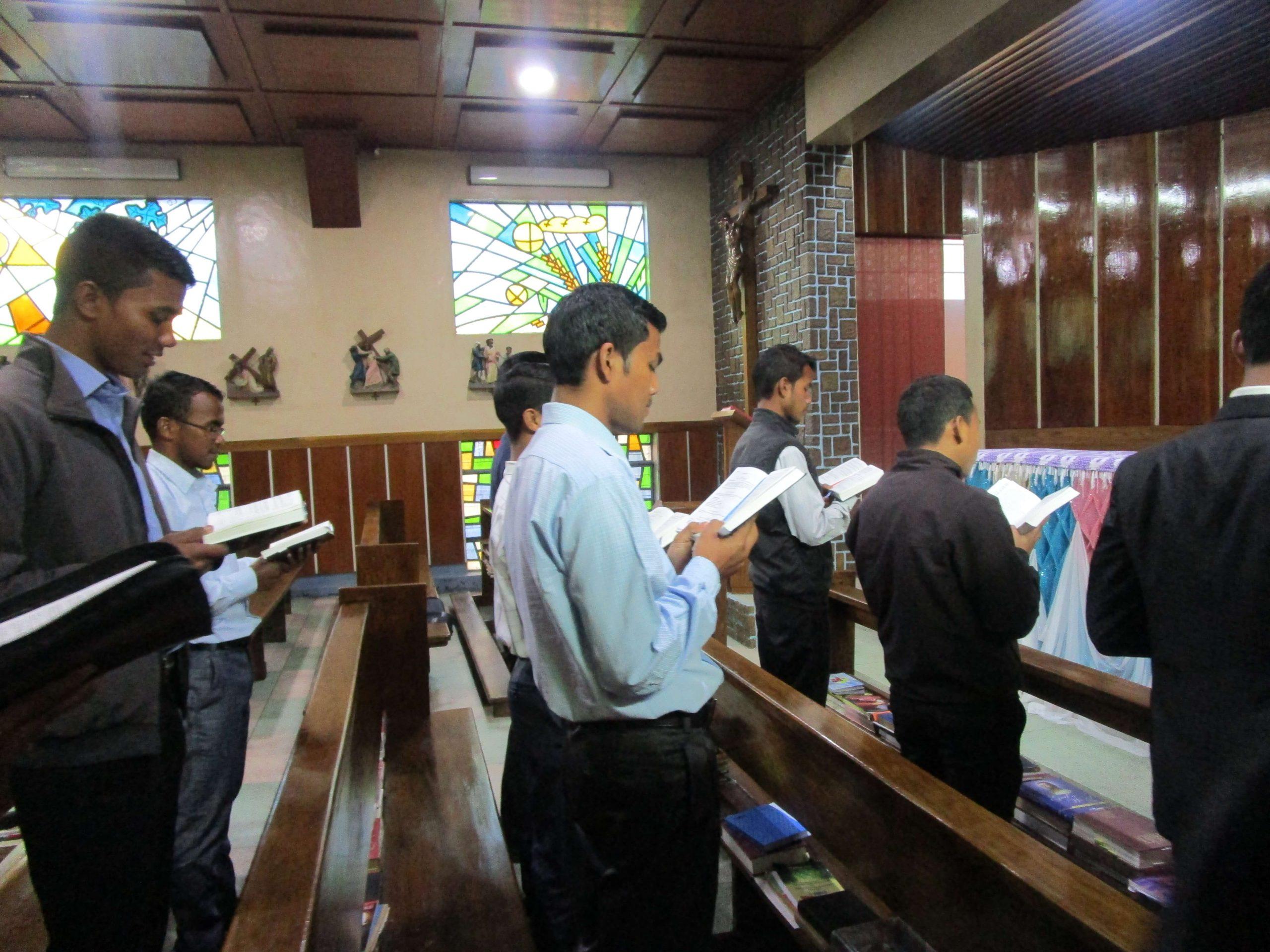 Seminarians from the Diocese of Jowai, India, at morning prayers