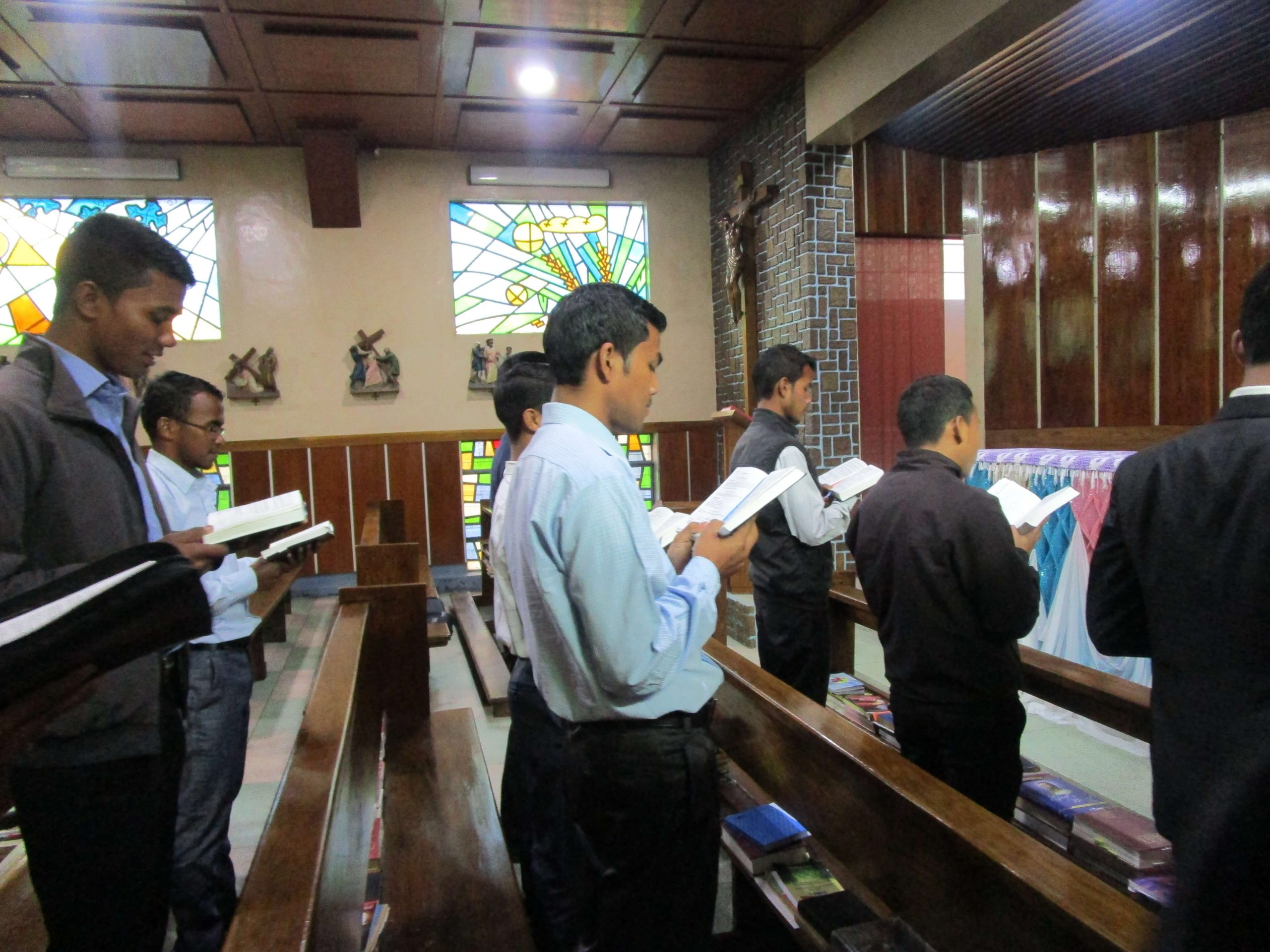Seminarians from the Diocese of Jowai, India, at morning prayers