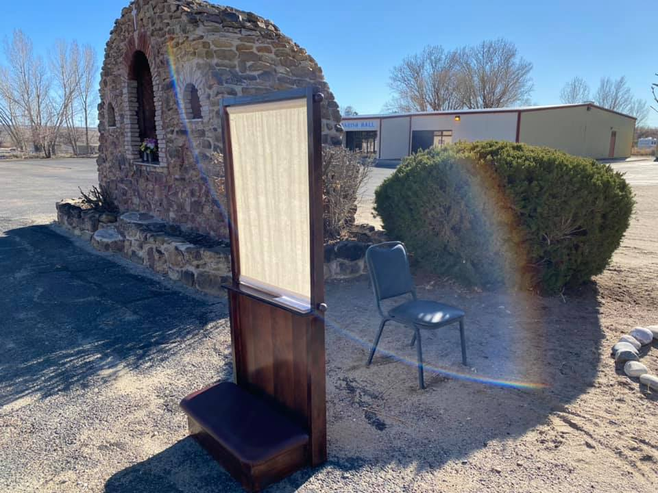 Outdoor confessional in New Mexico