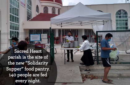"Sacred Heart parish is the site of a new ""Solidarity Supper"" food pantry. 140 people are fed every night."