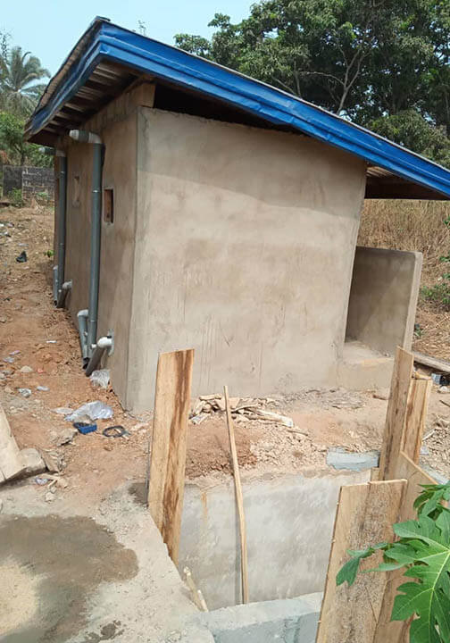 Bathrooms under construction for Holy Rosary School in Nigeria