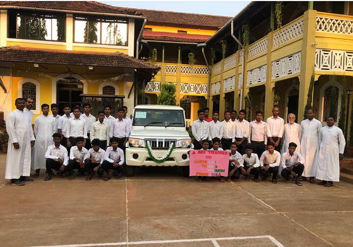 Catholic World Mission and our donors helped purchase a Jeep and bikes for the Missionaries of St. Francis de Sales Seminary in India