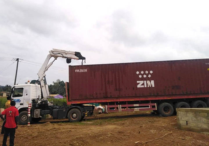 Containers arriving in Ghana