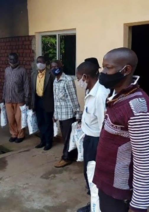 Uganda, Radio Mass program,Some of the representatives who received the food, masks and sanitizers
