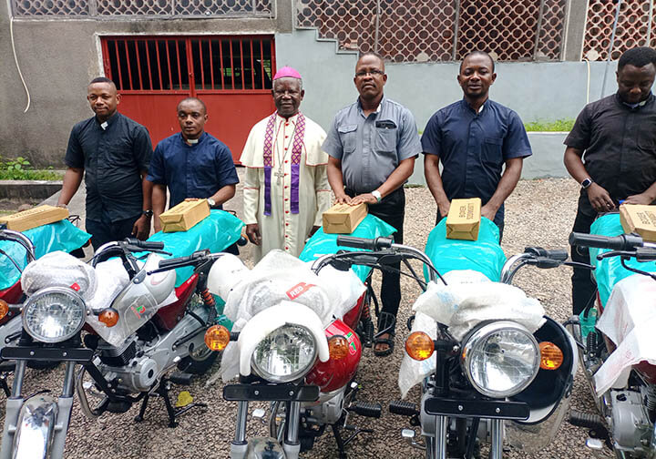 Thanks to your generosity we have been able to give the Diocese of Lokoja five motorcycles