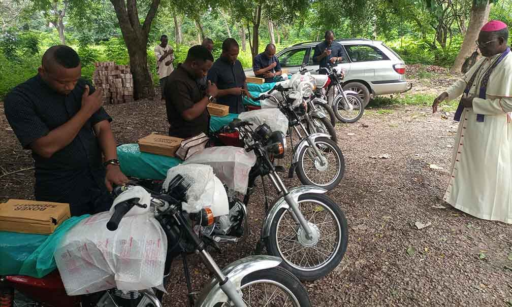 hanks to your generosity we have been able to give the Diocese of Lokoja five motorcycles